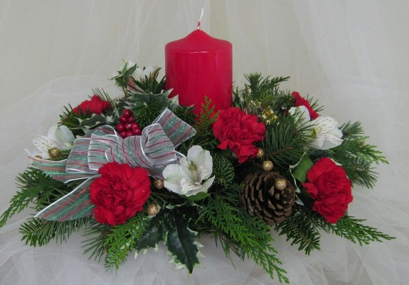 Winter Glow Pillar Candle Centerpiece from Joseph Genuardi Florist in Norristown, PA