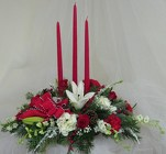 Christmas Lights Triple Candle Centerpiece