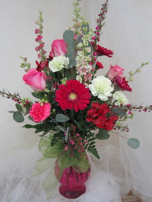 Raspberry Ice Vase Arrangement from Joseph Genuardi Florist in Norristown, PA