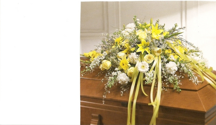 Sunlight Serenity Casket Spray from Joseph Genuardi Florist in Norristown, PA
