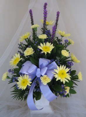 Purple and Yellow Traditional Mache Basket from Joseph Genuardi Florist in Norristown, PA