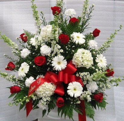 Masculine Memories Traditional Funeral Mache Basket from Joseph Genuardi Florist in Norristown, PA