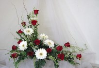 Red and White Cremation Tribute from Joseph Genuardi Florist in Norristown, PA