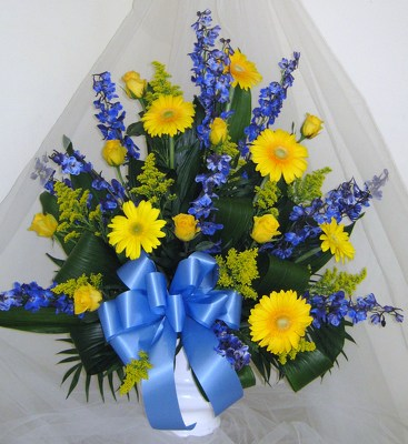 Vibrant Victory Funeral Mache Basket from Joseph Genuardi Florist in Norristown, PA