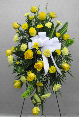 Yellow Adoration Funeral Standing Spray from Joseph Genuardi Florist in Norristown, PA