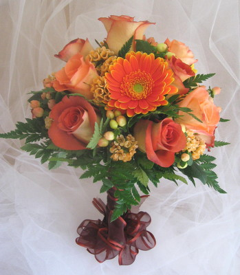 Orange Glow Bridesmaid Bouquet from Joseph Genuardi Florist in Norristown, PA