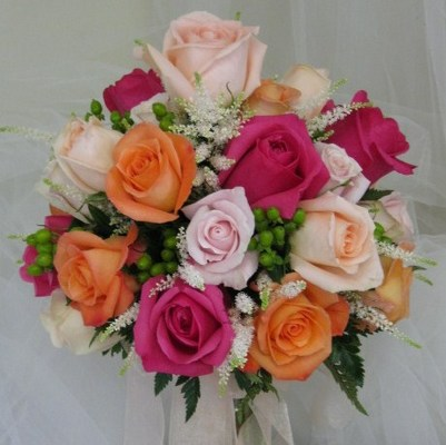 Rainbow of Roses Bridemaids Bouquet from Joseph Genuardi Florist in Norristown, PA