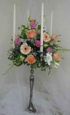 Elegant Candelabra Wedding Centerpiece from Joseph Genuardi Florist in Norristown, PA