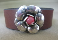 Leather Cuff Bracelet with Silver Flower  from Joseph Genuardi Florist in Norristown, PA