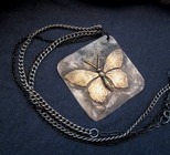 Rustic Metalsmith Butterfly Necklace from Joseph Genuardi Florist in Norristown, PA