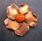 Copper and Gemstone Flower Brooch from Joseph Genuardi Florist in Norristown, PA