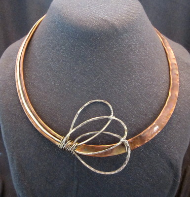 Modern Statement Copper and Sterling Necklace from Joseph Genuardi Florist in Norristown, PA