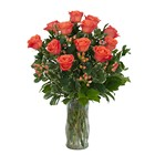 Orange Roses and Berries Vase from Joseph Genuardi Florist in Norristown, PA
