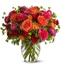 Raspberry and Orange Sherbet Vase Arrangement